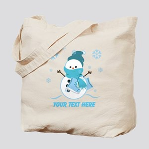 Cute Personalized Snowman Tote Bag